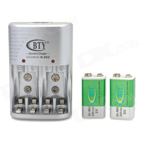 BTY N-802 4 x AA / AAA or 2 x 9V Battery Charger - Silver (2-Flat-Pin Plug)