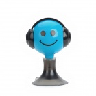 Smiling Pattern 2-in-1 3.5mm Jack Earphone Stand Splitter for Iphone / HTC / Samsung - Blue + Black