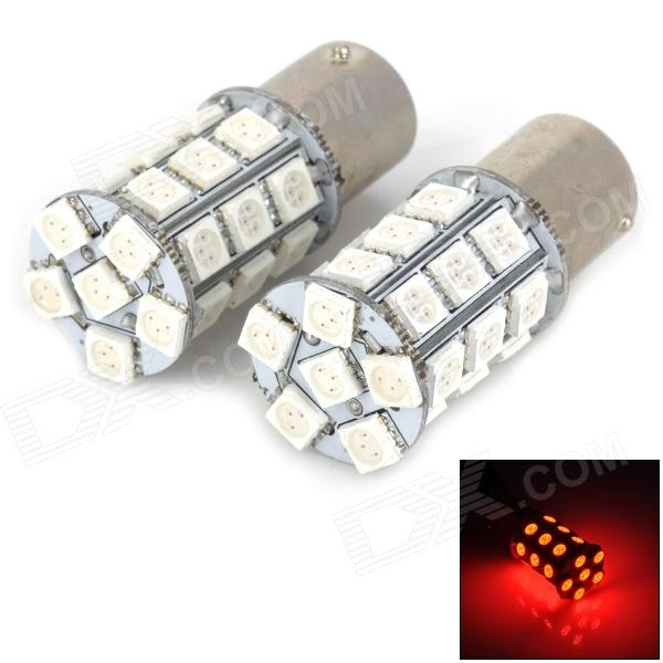 115650-27R 1156 5W 300lm 660nm 27-5050 SMD LED Red Light Car Turn Signals - Silver (2 PCS) 115650 18r 1156 3 5w 200lm red light 18 smd 5050 led car turn signal tail lamp dc 12v 2 pcs