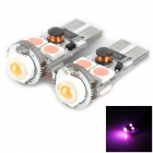 LY285 T10 5W 180lm 4-5050 SMD LED + 1 Bulb Pink Light Car Door Lamp (2 PCS / 12~24V)