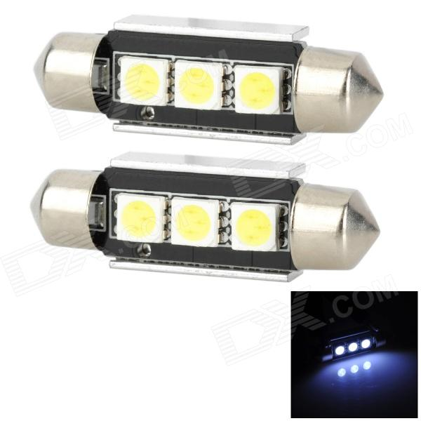 39mm Festoon 1W 36lm 6000K 3-5050 SMD LED White Light Reading Lamp (2 PCS / 12V)