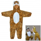 Cosplay Tiger Head Hooded Suit for Kids - Brown + Black + White (Size M)