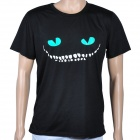 Cooler Rundhals kurzen Ärmeln Baumwolle T-Shirt w / Glow-in-the-Dark Eyes Muster - Schwarzes