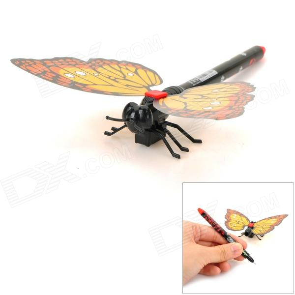 ZX0226 Creative Cute Butterfly Style Gel Ink Pen w/ Magnet - Yellow + Orange + Black