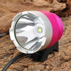LZZ-T6 Cree XM-L T6 600lm 3-Mode White Bicycle Bike Light / Headlamp - Magenta + Silver (4 x 18650)