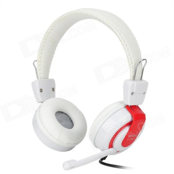 SUOYANA S-T3301 Gaming Headphones w/ Microphone - White + Red (3.5mm Plug / 197cm)