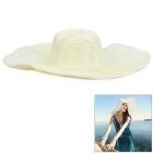 HQS-Y24621 Straw Braid Damen Modische Big-Brim Folding Sun / Beach Hat - Beige