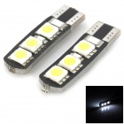 Decode T10 1.8W 84lm 6-SMD 5050 LED White Car Clearance Lamp - Black + White + Yellow (Pair)