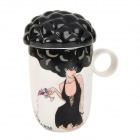 Explosion Hair Style Sexy Girl Pattern Color Changing Ceramic Mug Cup - White + Black (250ml)