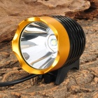 LZZ-T6 Cree XM-L T6 600lm 3-Mode White Bicycle Bike Light / Headlamp - Black + Golden (4 x 18650)