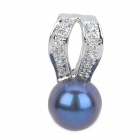 ZhuZhuBao IP0136 925 Silver Natural Pearl Pendant - Silver + Deep Blue