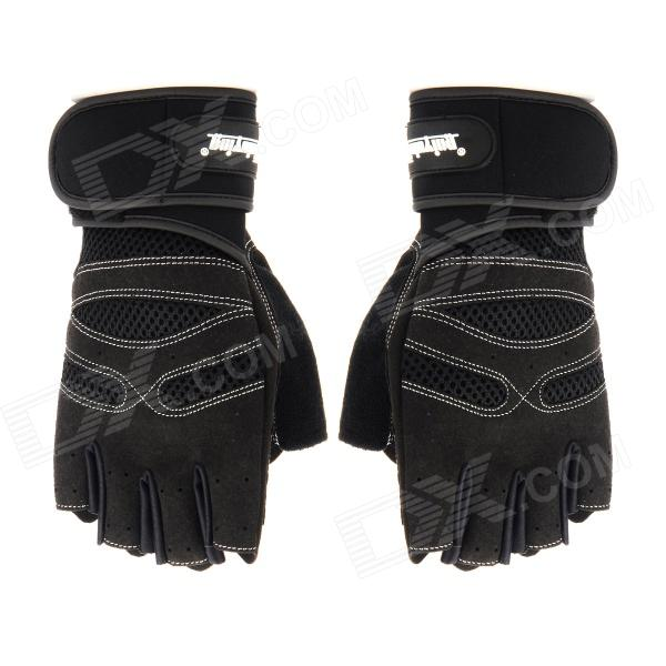 XLY 202 Protective Anti-Slip Haft-Finger Outdoor Sports Cycling Gloves - Black (Size M)