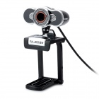 "RAJOO S7 Desktop 1/3"" CMOS 8.0MP USB Wired 1600 x 1200 Webcam w/ Microphone - Black + Silver"