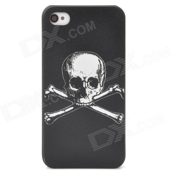 Cute CrossBones Embossment Protective PC Hard Back Case for Iphone 4 / 4S - Black + White detectable 8x telescope w tripod back case for iphone 4 4s white silver black