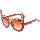 SENLAN 6170 Leopard Cat Eyes Style UV400 Protection Acetate + PU Frame PC Lens Sunglasses - Tan