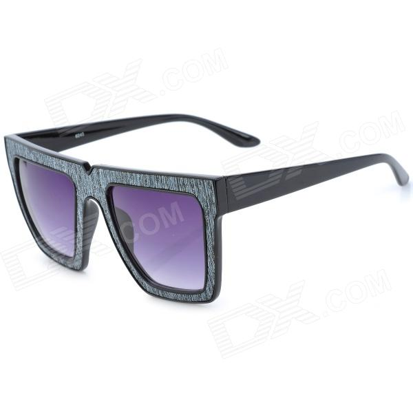 SENLAN 6243 Retro UV400 Protection Acetate + PU Frame PC Lens Sunglasses - Black + Grey