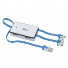 4-in-1 Card Reader + USB Hub + Data Cable for iPhone + iPad + Samsung + More - White + Black + Blue
