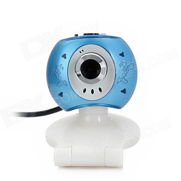 Eye Style 1.3MP USB Powered Webcam PC Camera w/ Microphone - White + Blue