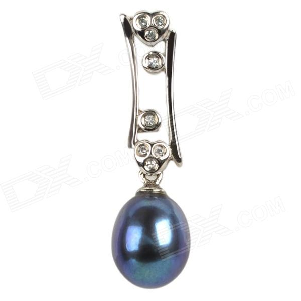 ZhuZhuBao IEP0073 925 Silver Natural Pearl Pendant - Silver + Deep Blue