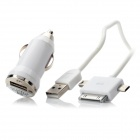 B-198 1-to-3 USB to Micro USB / Mini USB / 30-pin Charging Cable + Car Charger - White