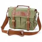 911GN Fashionable Multi-Pocket Canvas One-Shoulder DSLR Camera Bag - Army Green