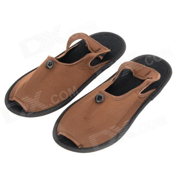 Travelicons Portable Folding Slippers w / Bag - Brown + Black (Pair)