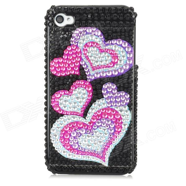 Protective Heart Pattern Bling Back Case for Iphone 4 / 4S - Silver + Red + Blue butterfly bling diamond case