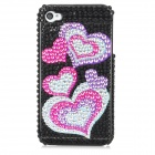 Protective Heart Pattern Bling Back Case for Iphone 4 / 4S - Silver + Red + Blue