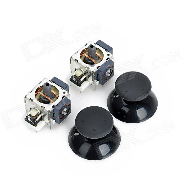 Repair Parts Replacement 3D Joystick Set for XBox 360 - Black + Silver + White (2 PCS)