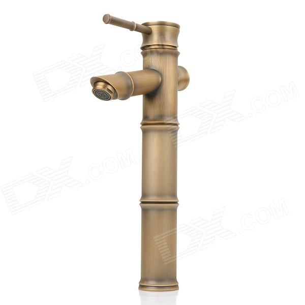 PHASAT 4310 European Retro Bamboo Style Brass Single-Handle Water Faucet - Bronze golden brass kitchen faucet dual handles vessel sink mixer tap swivel spout w pure water tap
