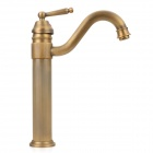 PHASAT 4403 European Retro Style Brass Single-Handle Bent Water Faucet - Bronze