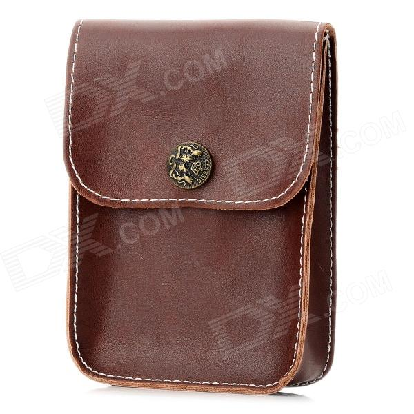 Retro Protective PU Bag for Cellphone - Brown