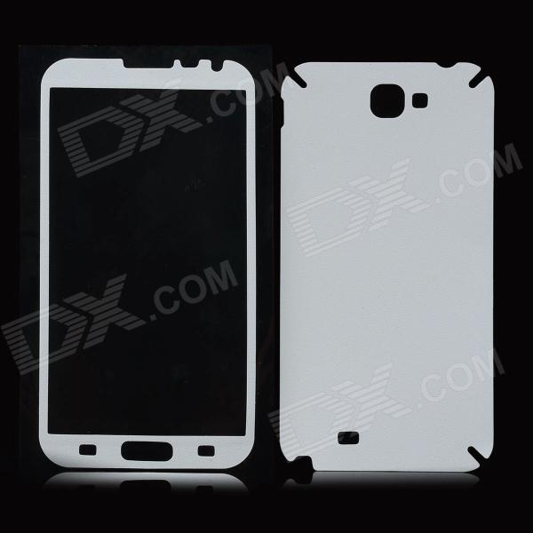 Protective PVC Back + Screen Protectors w/ Cleaning Cloth for Samsung N7100 / N7102 / N7108 - White