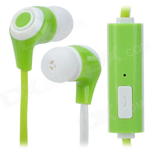 In-Ear Stereo Earphone w/ Microphone Clip for Iphone + Samsung + More - Green + White (110CM-Length) 3 5mm jack in ear earphone w microphone for iphone 4 4s ipad samsung more black white