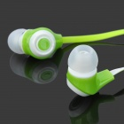 In-Ear Stereo Earphone w/ Microphone Clip for Iphone + Samsung + More - Green + White (110CM-Length)