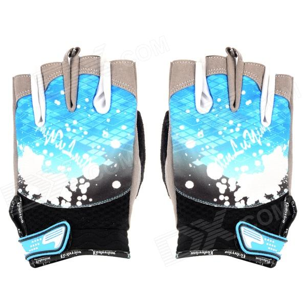Ultra-Thin Outdoor Cycling Half-Finger Elastic Cloth Anti-Slip Gloves - Blue + Black (Size L / Pair) universal nylon cell phone holster blue black size l
