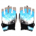 Ultra-Thin Outdoor Cycling Half-Finger Elastic Cloth Anti-Slip Gloves - Blue + Black (Size L / Pair)