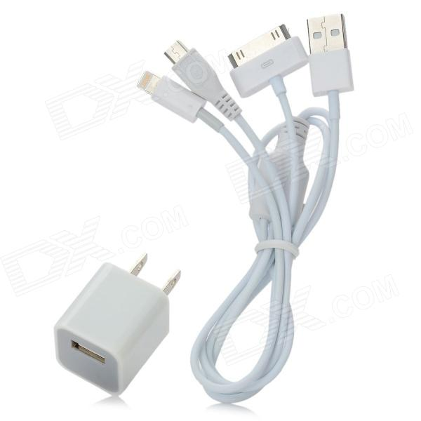 AC Power Adapter + USB to 8-Pin Lightning / 30 Pin / Micro USB Data / Charging Cable Set - White