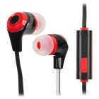 In-Ear Stereo Earphone w/ Microphone Clip for iPhone + Samsung + More - Black + Red (110CM-Length)