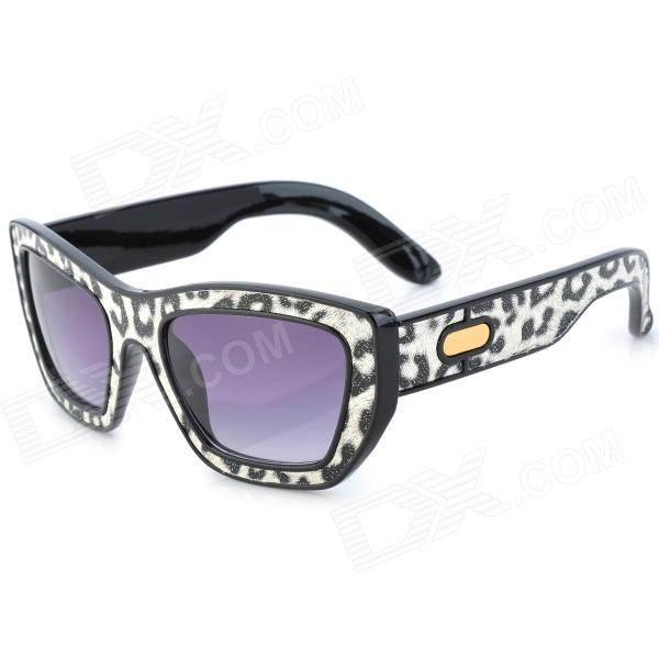 SENLAN 6081 Retro Leopard Pattern UV400 Protection PC Lens Sunglasses - Black + White cy8150 fashion women s resin uv400 protection sunglasses leopard pattern frame