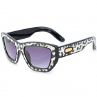 SENLAN 6081 Retro Leopard Pattern UV400 Protection PC Lens Sunglasses - Black + White