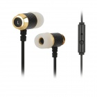 Gorsun GS-C281 Stilvolle Stereo-In-Ear-Ohrhörer w / Mikrofon - Schwarz + Golden (3,5 mm Klinkenstecker / 1,2 m)