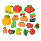 R6844 Cute Fruit + Vegetables Style Plastic Fridge Magnet Stickers - Multicolored (18 PCS)