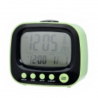 "YSDX-737 3.3"" LED TV Style Alarm Clock w/ Calendar / Temperature Display - Black + Green (3 x AA)"