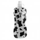 Portable Folding Water Bottle with Carabiner Clip - Black + White (450ml)