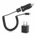 3 in 1 Auto Zigarette Powered Charger + US Plug Charger + USB Kabel für iPhone 5 - Black