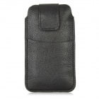Protective Top-Flip Open PU Leather Bag Pouch for Iphone 5 - Black
