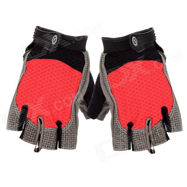 Stylish Half-Finger Anti-Slip Riding Gloves - Red + Black + Grey (Size XL) spakct cool006 knuckle riding cycling gloves black white red xl 21cm