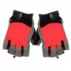 Stylish Half-Finger Anti-Slip Riding Gloves - Red + Black + Grey (Size XL)