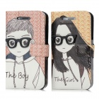 Cartoon Couple Wearing Glasses Pattern PC + Artificial Leather Cases for Iphone 4 / 4S - Multi-Color